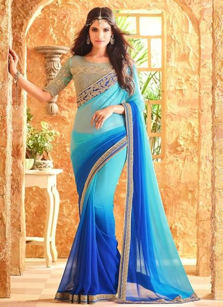 Latest Designer Bollywood Firozi And Blue Colored 23693 Traditional Beautiful Georgette Sari Partywear Embroidered Saree For Women