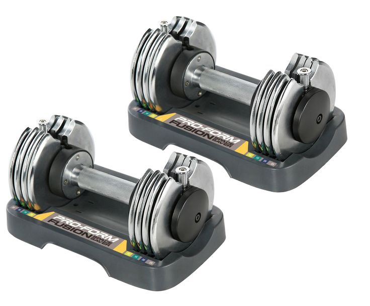 2) ProForm SpaceSaver 25 Pounds Adjustable Weight Dumbbells with Trays. Adjustable single dumbbell. Compact, easy-to-store design. Customize the intensity of your workout. Adjusts in 5-pound increments. Includes storage tray.