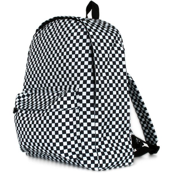 ililily Classic Black and White Checkered Vintage Style Unisex... (€34) ❤ liked on Polyvore featuring bags, backpacks, black and white backpack, checked bags, rucksack bag, backpacks bags and checkered backpack