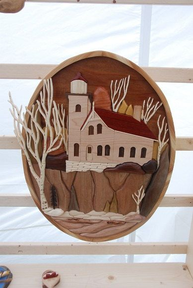intarsia - eagle bluff lighthouse penninsula st park,  door cty wi on Etsy, $325.00