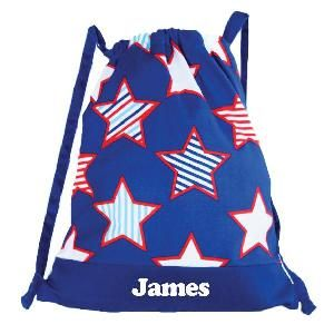 This gorgeous personalised Drawstring Backpack / Library Bag is individually printed with each child's name and makes a great lighweight back pack. It will fit books with ease and is also great on sport and swimming days.  Features * Made from polyester cotton * Unlined * Star Burst design * Heat pressed in Australia * Drawstring * Personalisation max 12 characters * Dimensions: 47cm H x 41cm W