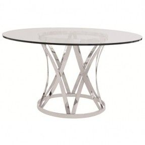 Interiors   Gustav Round Glass Top Dining Table With Polished Metal Base By  Bernhardt At Baeru0027s Furniture