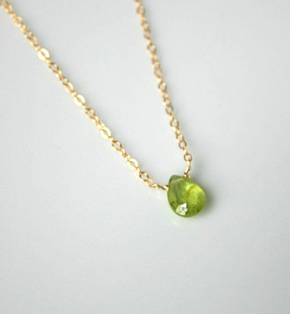 Petite peridot necklace, gold peridot necklace, August birthstone, 16 inch necklace, delicate gold jewelry - Natalie