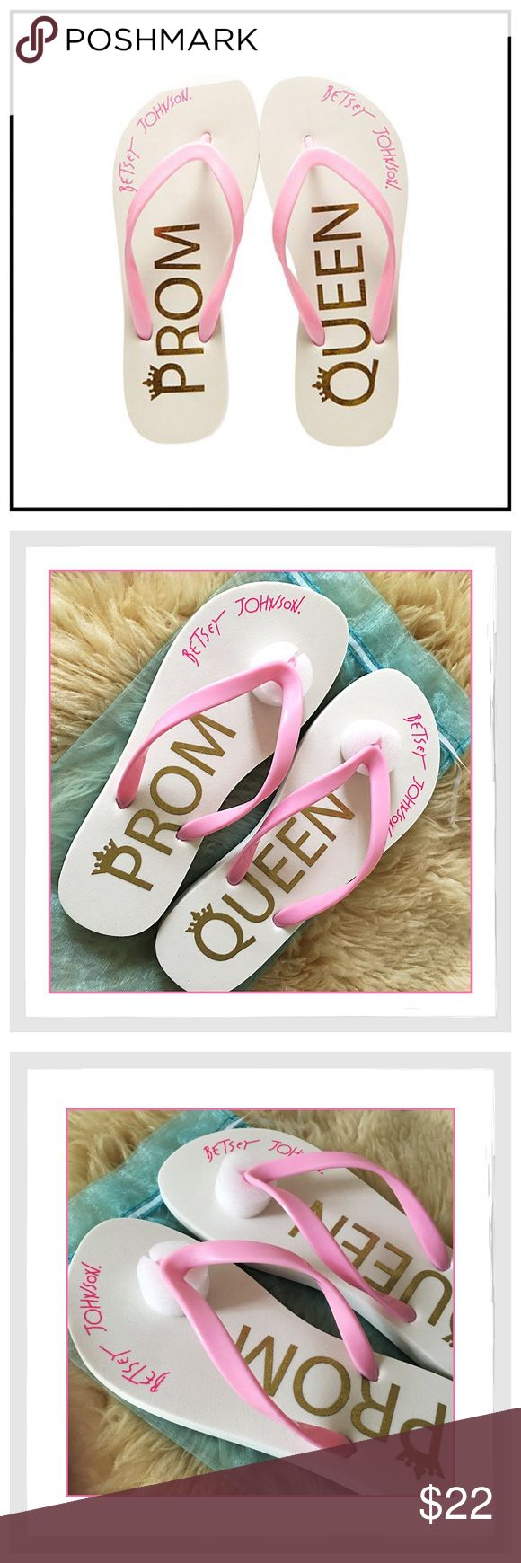 "💋✨Betsey Johnson 'Amy' Sandals ""Prom Queen""✨💋 💋✨Betsey Johnson 'Amy' Sandals ""Prom Queen""✨💋A Fun Addition To Your Special Day✨'Prom Queen' Graphic On Footbed✨Round Open-Toe Slip-On Thong Sandals✨Ribber Upper/Manmade Sole✨New In Original Box✨Comes With A Blue Dust Bag✨Size 6✨ Betsey Johnson Shoes Sandals"