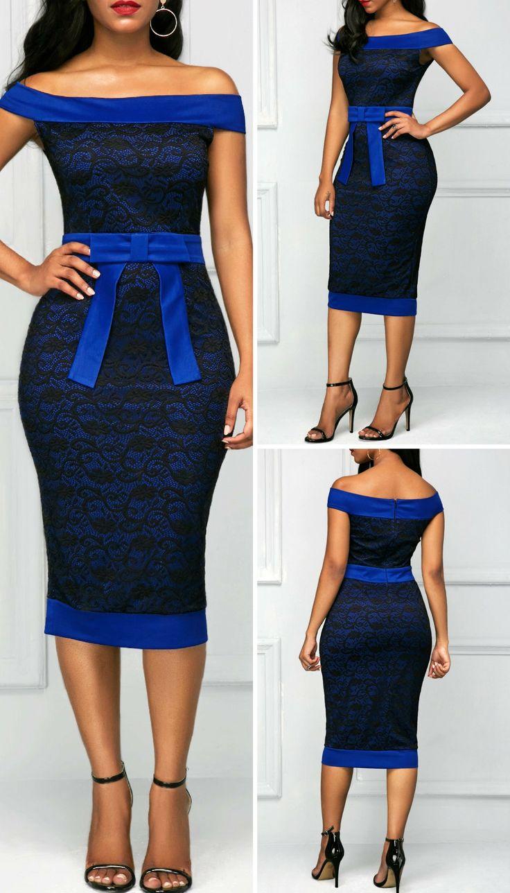 Bowknot Embellished Off the Shoulder Sheath Dress at rosewe.com.