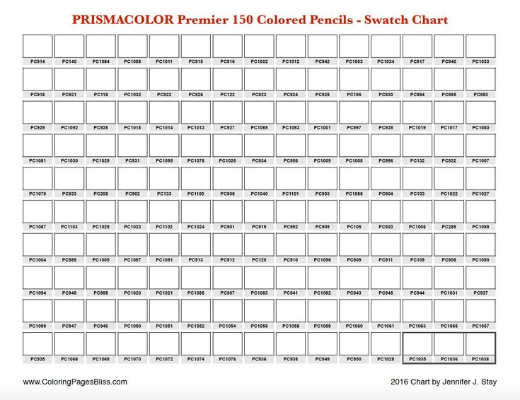 Prismacolor Premier 150 Swatch Chart