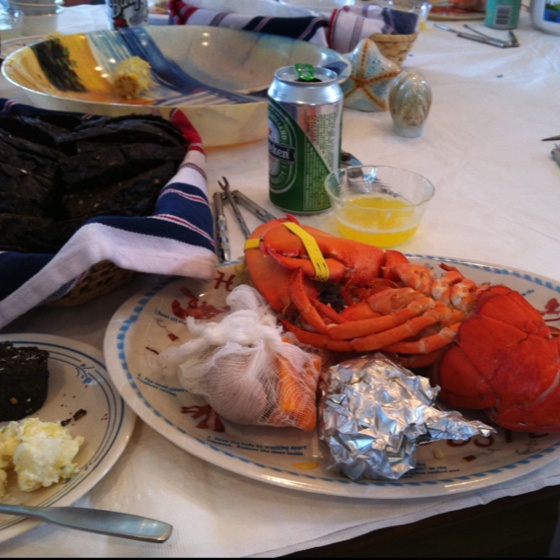 Clam bake! Lobster, corn on the cob, cod, clam cakes, steamed veggies ...