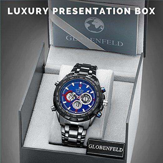 Globenfeld Reloj de Hombre Super Sport 2.0 - Reloj Deportivo Cronógrafo, Analógico/ Digital - Diseño Clásico Minimalista - Edición Limitada - Cristal Resistente a Arañazos - Garantía 5 años: Amazon.es: Relojes