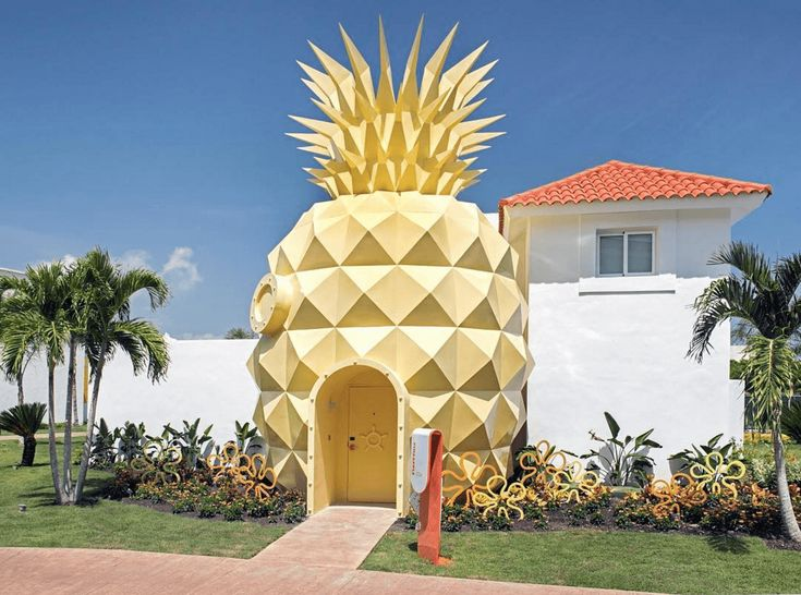 DR: Stay in a 'SpongeBob' Pineapple Villa For Your Next Vacay (September 2016) -- Fans of Spongebob Squarepants will be happy to know that they can now stay in their own pineapple villa, although it is just located by the sea not authentically under the sea. The villa is located in the Dominican Republic at the Nickelodeon Hotel and Resort in Punta Cana. At 1,500 square feet, the villa has two bedrooms, three bathrooms, and an authentic Spongebob vibe. $3500/night, minimum 3 nights.