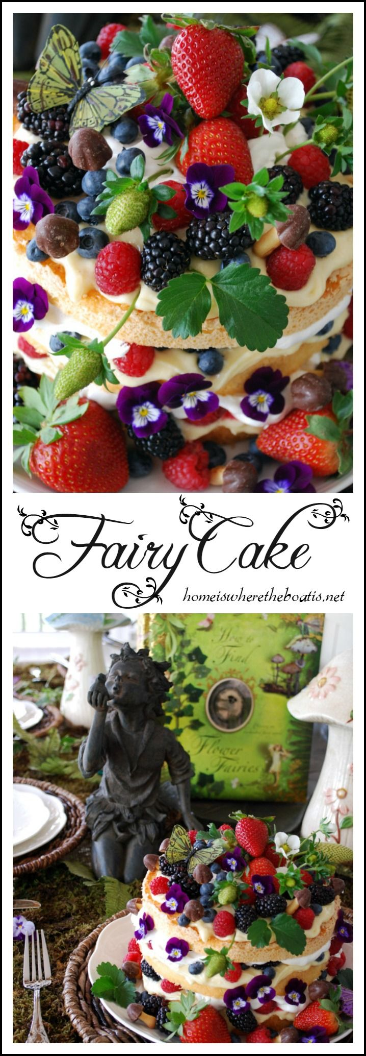 Fairy Cake! Angel food cake, cut in thirds, layered with lemon curd, whipped cream, berries, and chocolate confection mushrooms! | Home is Where the Boat Is #cake #fairy