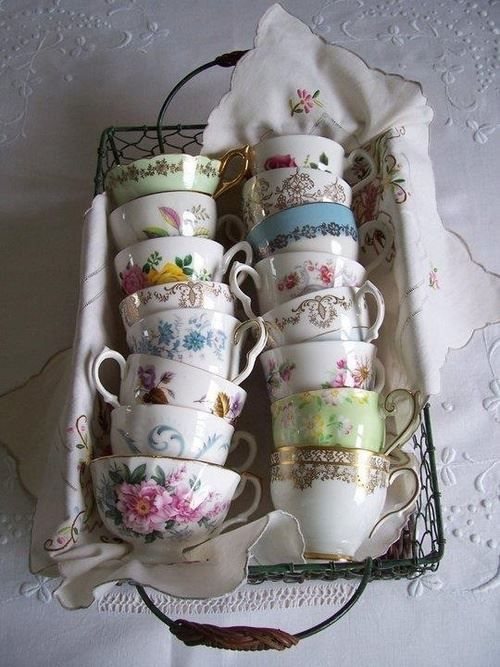 ~ mismatched vintage china tea cups ~ would be fun to collect delicate porcelain cups from charity shops and car boot sales ~