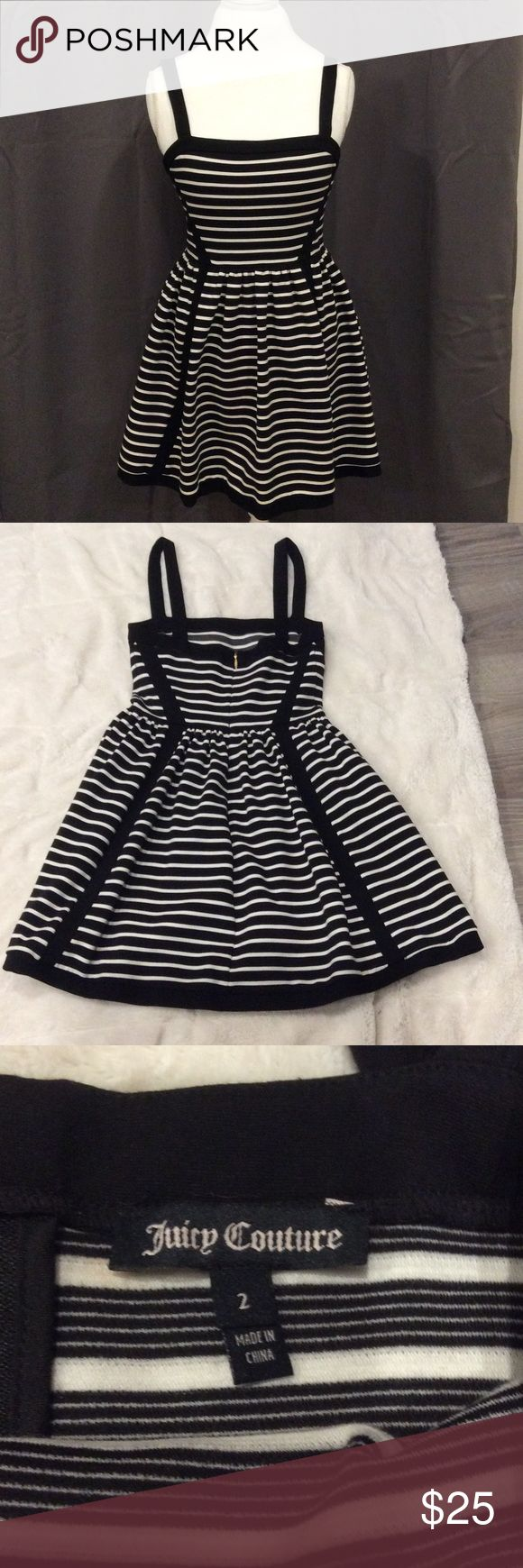 Juicy Couture party dress 🎀 Juicy Couture black and white stripes party dress. Perfect for a night out or a party. In great condition! No discoloration, no rips or holes Juicy Couture Dresses