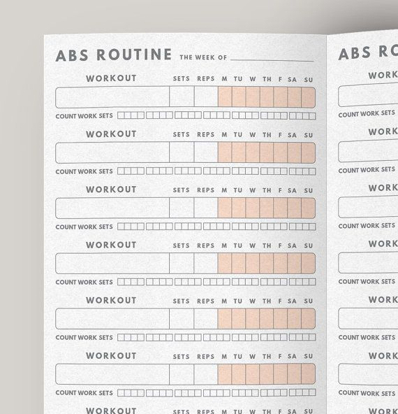 Fitness Planner Abs Workout Routine Fitness journal by GetWellPlan