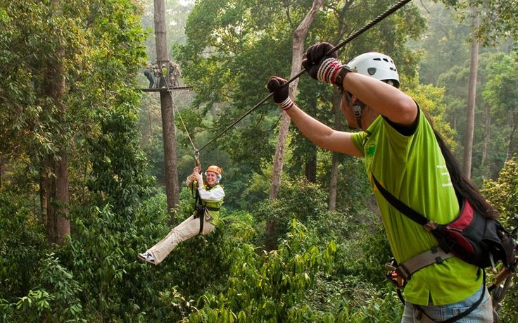 The world's longest zip wires. Chang Mai  Thailand