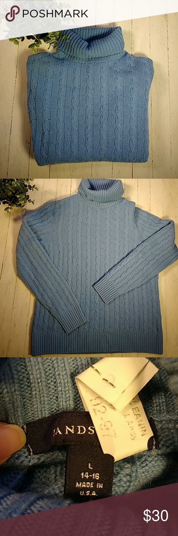 """Cashmere Land's End turtleneck sweater Gorgeous and so soft, this medium blue sweater has only been dry cleaned, still has ticket attached. Fantastic condition, no pilling or pulls. Measured flat: 25"""" shoulder hem to bottom front hem 21.5"""" armpit to armpit 18.5"""" armpit to sleeve hem Lands' End Sweaters Cowl & Turtlenecks"""