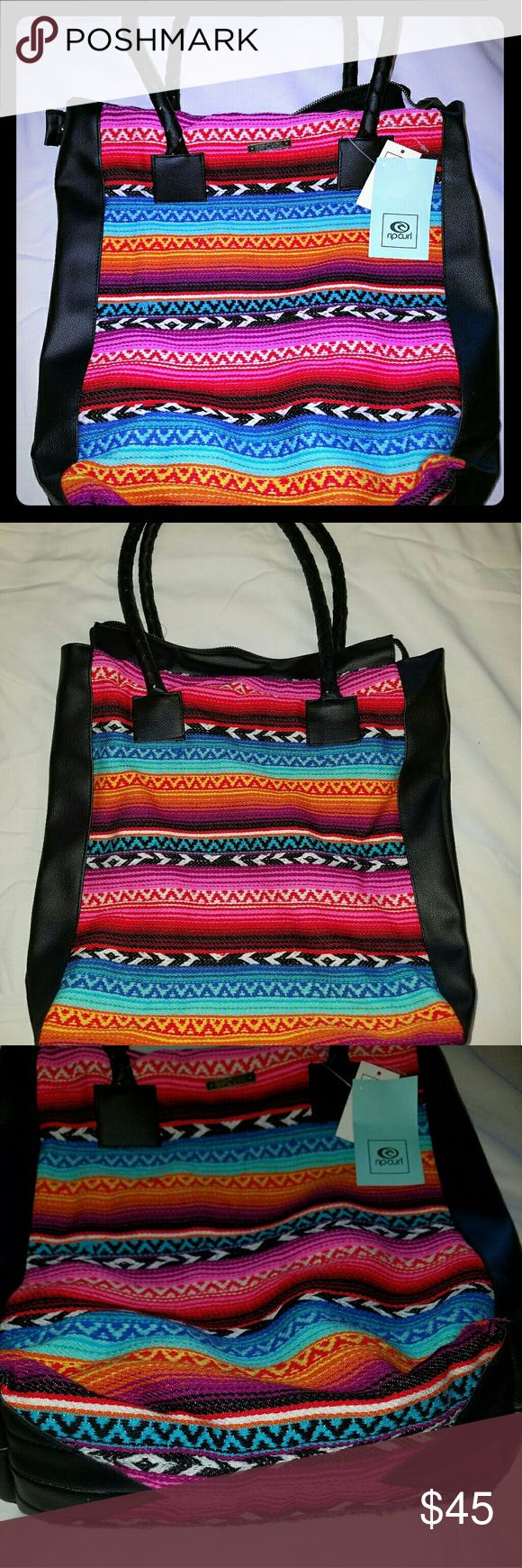 NWT RIPCURL aztec tote bag purse beach rip curl NWT RIPCURL aztec tote bag purse beach bag.  gorgeous bright colors! a zippered pocket and another small pocket inside. zips at the top Rip Curl Bags Totes
