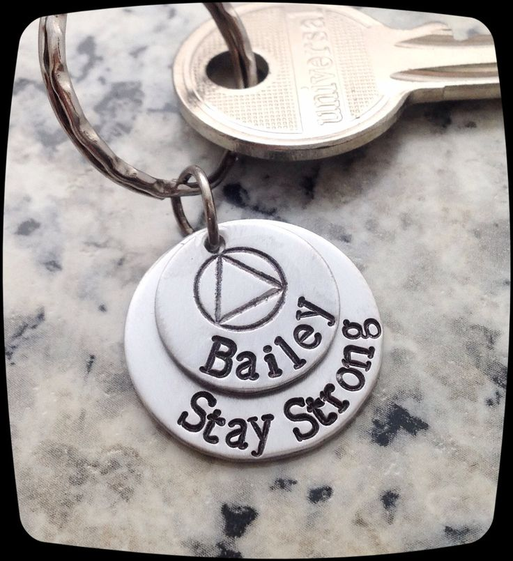 Sobriety Gift, Stay Strong, Sobriety, Addiction Recovery Key Chain, Sobriety Date Key ring by ThatKindaGirl on Etsy