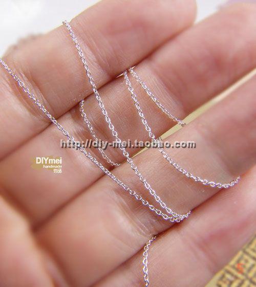 【925银】美国原产 1mm超细圆链 925银链 1米 Sterling Silver-淘宝网