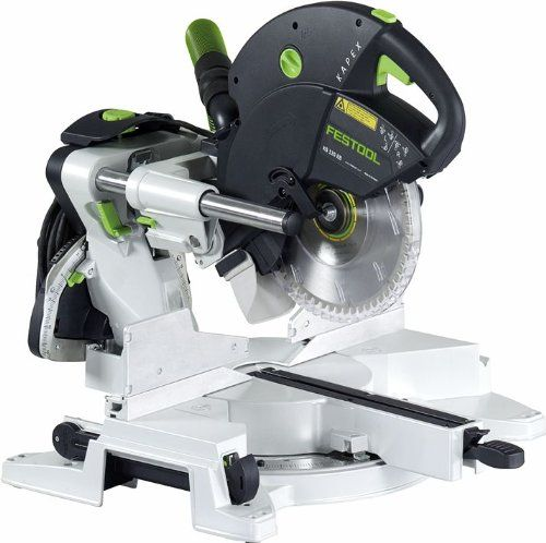 Festool Kapex KS 120 Sliding Compound Miter Saw - The Festool Kapex miter saw comes with Festool's high-quality 60-tooth carbide blade for use when cutting woods or soft plastics, an angle transfer device, a hold-down clamp for securing material, and