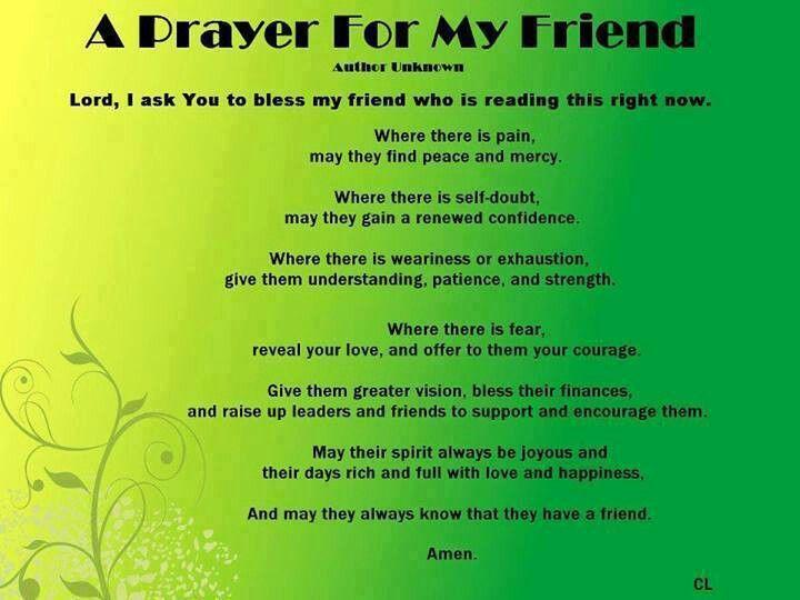 A prayer for my friend