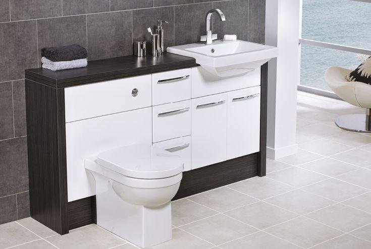 50mm black linear laminate bathroom worktop, quantum square sanitaryware, paleto basin mixer, silver and white cloud tiles #fittedfurniture #bathroomfurniture #tiles #myutopia