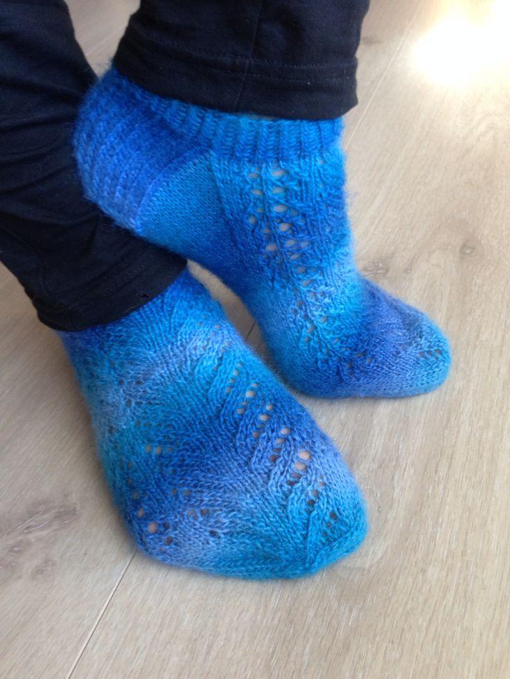 Knitted socks. Pattern: 'Søte frøken vår' from the book: 'Sokker, strikking hele året', author: Bitta Mikkelborg. Yarn: Nordlys, Viking of Norway.