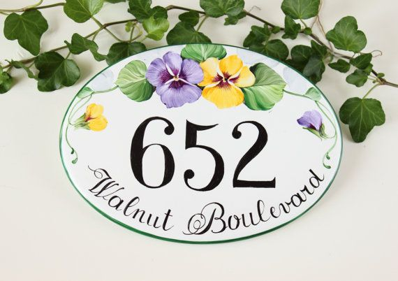 This house name plaque is entirely hand painted on a porcelain plaque. It can be used as: address plaque, house numbers or house sign. ★ House