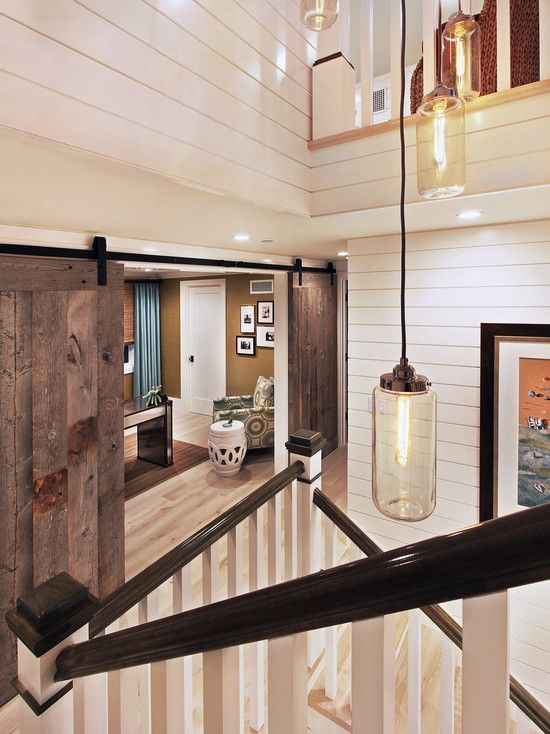 Doors Designs, Cool Conventional Staircase With Admirable Wooden Barn Doors For Homes Also Unique Pendant Lamps Design And Adorable White Bedboard Wall Design Also Antique White Jar And Modern Armchair With Circles Pattern: Interior and Exterior Barn Doors for Homes