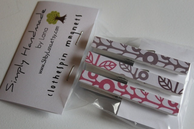 Wooden Clothespin Magnets - Painted with Pattern paper - Pink, Grey, White. $4.50, via Etsy.