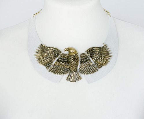 https://www.cityblis.com/5179/item/17121  Eagle collar jewelry - $20 by Beango  Pure poetry, love and nature come together in the leather jewelry by Hungarian designer Beango. Eagle hover over leather collar.