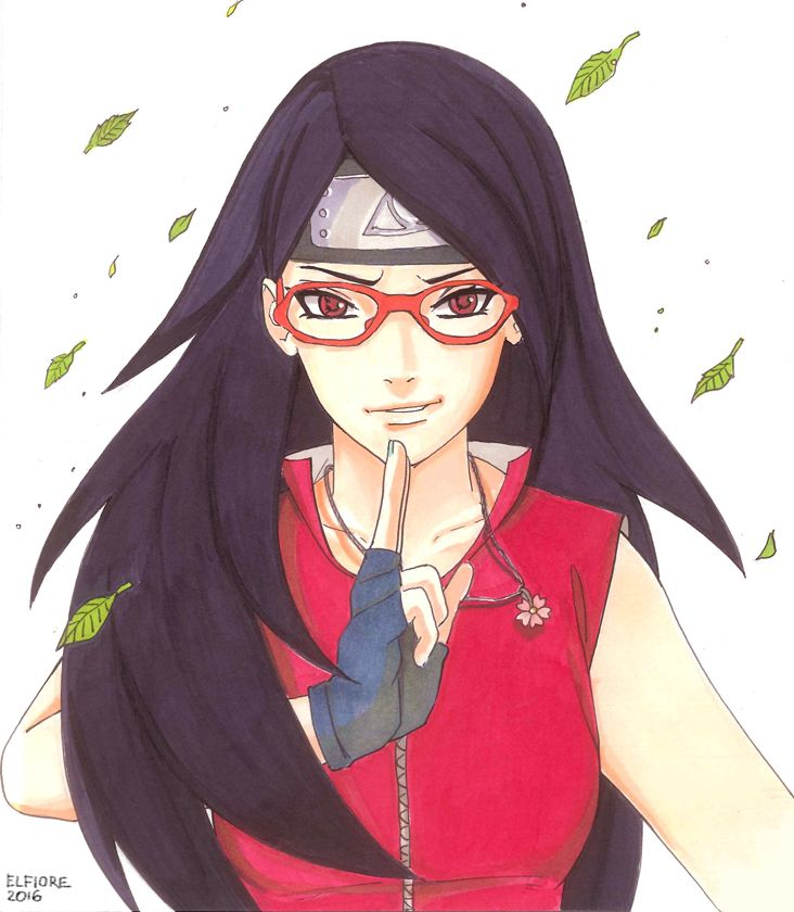 "elfiore: "" ''No matter what happens, I am Uchiha Sarada of Konoha! So I'll protect it!'"