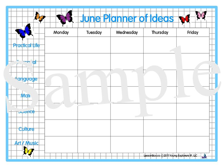 infant blank lesson plan sheets | June - Planner of Ideas