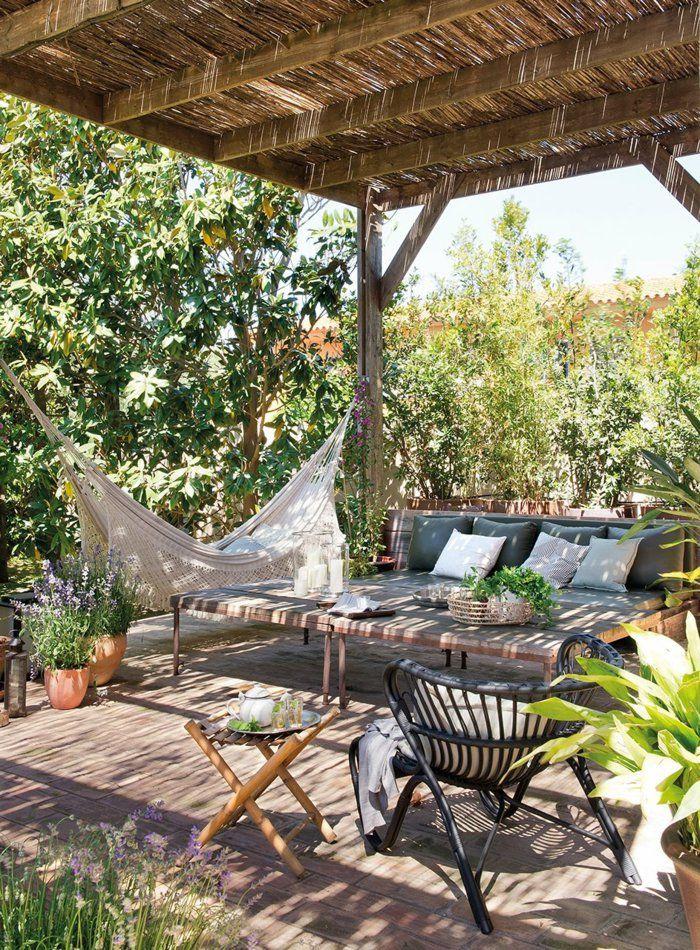 gartenideen pergola garten außenmöbel hängematte gartenpflanzen