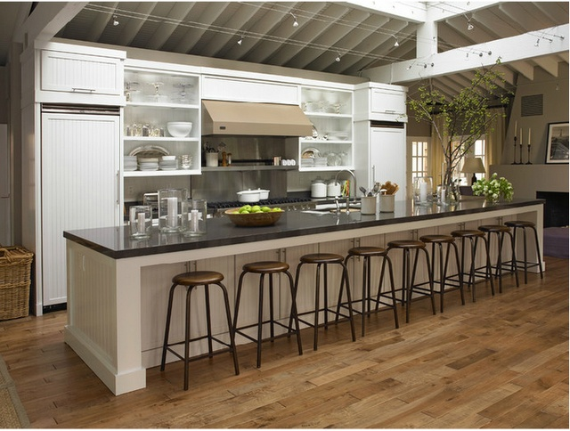 Long Kitchen Island now that is a long kitchen island.. what i need for my hundreds of