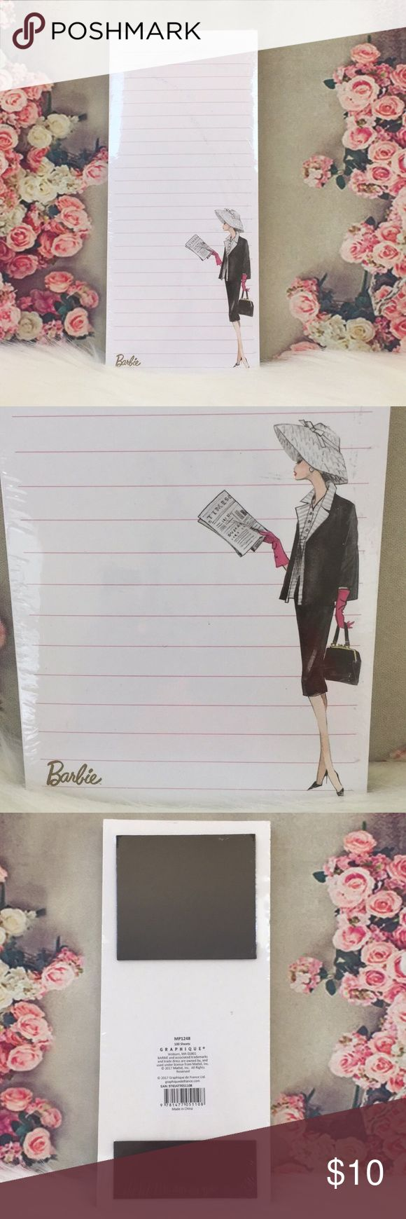 """🆕💕BARBIE 💕Graphique Magnetic Notepad 📝 Super cute 💕Barbie magnetic notepad by Graphique // 100 Sheets 9.25"""" L x 4"""" W / Brand New🚭SMOKE FREE🚭BUNDLE & SAVE 🛍🛍 Other"""