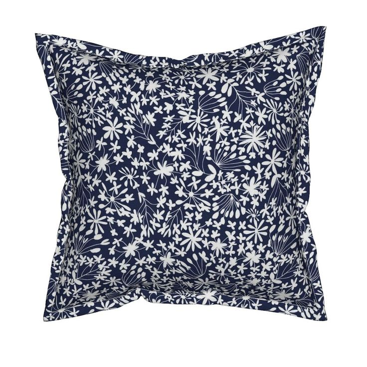 Serama Throw Pillow featuring Flower Whisper Blue by kirstenkatz | Roostery Home Decor