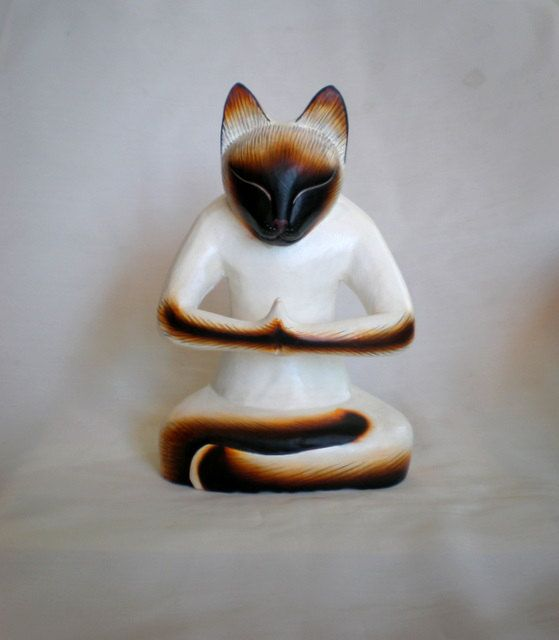YOGA CAT  Wood Carved by ExtravaganzaBali on Etsy.  High  20 cm (7,9 inches)