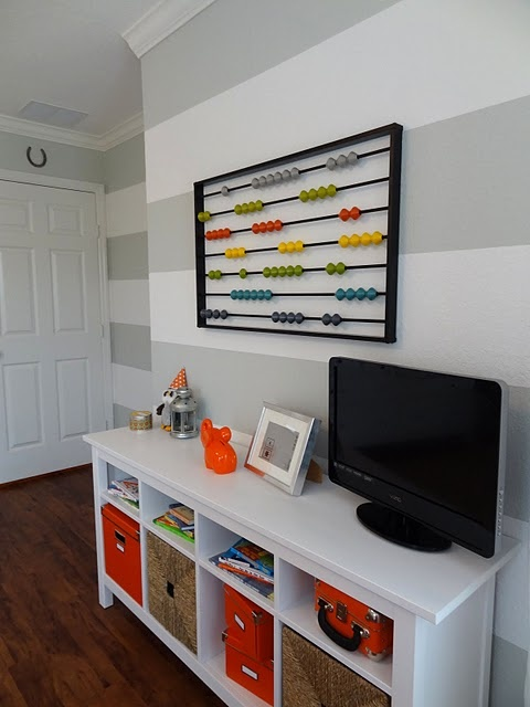 orange and gray nursery striped walls  abacus. I love this!