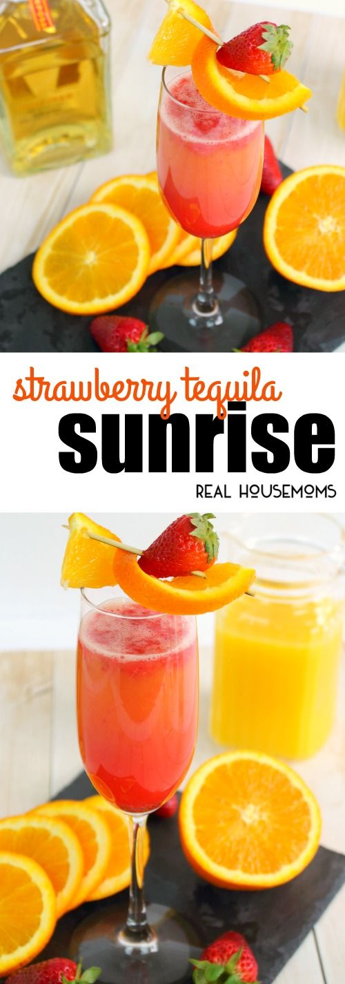Need a new summer cocktail? This delicious Strawberry Tequila Sunrise is an amazing drink perfect for brunch with friends, happy hour, and parties too via @realhousemoms