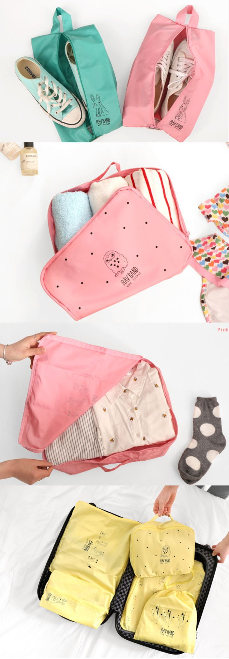 The Rav Band Travel Pouch Set is a simple, cute, and useful travel pouch set for your travel! You could possibly store clothes, au more conveniently and easily