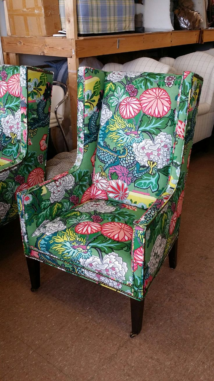 Items similar to bernhardt light pink ming accent chair on etsy - Parker Kennedy Living S Updated Wing Chairs In Schumacher Ming Dragons Jade Chinoiserie Style Preppy Southern Regency