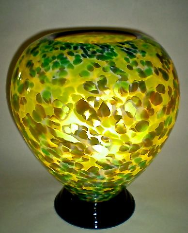 Green and Brown Lamp by Curt Brock: Art Glass Table Lamp available at www.artfulhome.com
