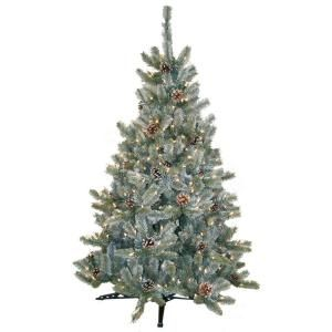 4.5 ft. Pre-Lit Artificial Siberian Frosted Pine Christmas Tree with Clear Lights and Pinecones-HD-92245C3 at The Home Depot