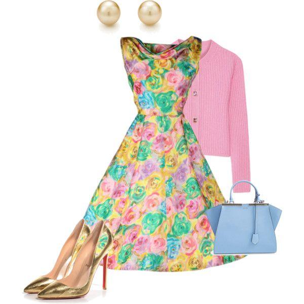 124. Vintage Floral Circle Dress, Pink Miu Miu Cardigan, Tiffany Pearl Earrings, Blue Fendi Bag, Gold Louboutins! Fun!
