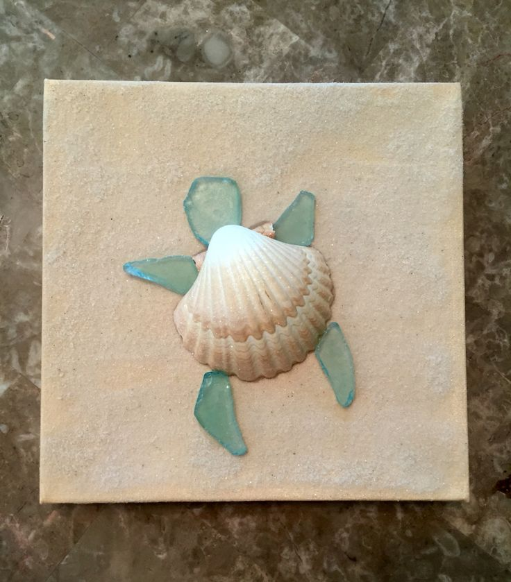 Turtle canvas - painted canvas with real sand added then turtle made out of glittered shell and sea glass pieces  Sea glass art (I love sea glass)