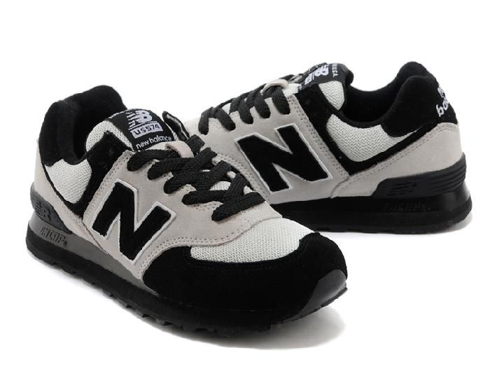 Hot Engros New Balance 574 Made in Usa Dark Knight Svart Hvit Herre Sko og New Ny Balance 574 Til Kvinner Online til salgs