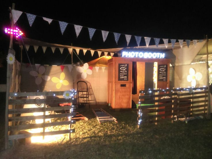 Photo Booth in the evening at Rocking the Dasies 2015 in Darling, South Africa #photobooth #photo #booth #vintage #festival #props #wooden photo booth #vintage photo booth #outdoor photo booth