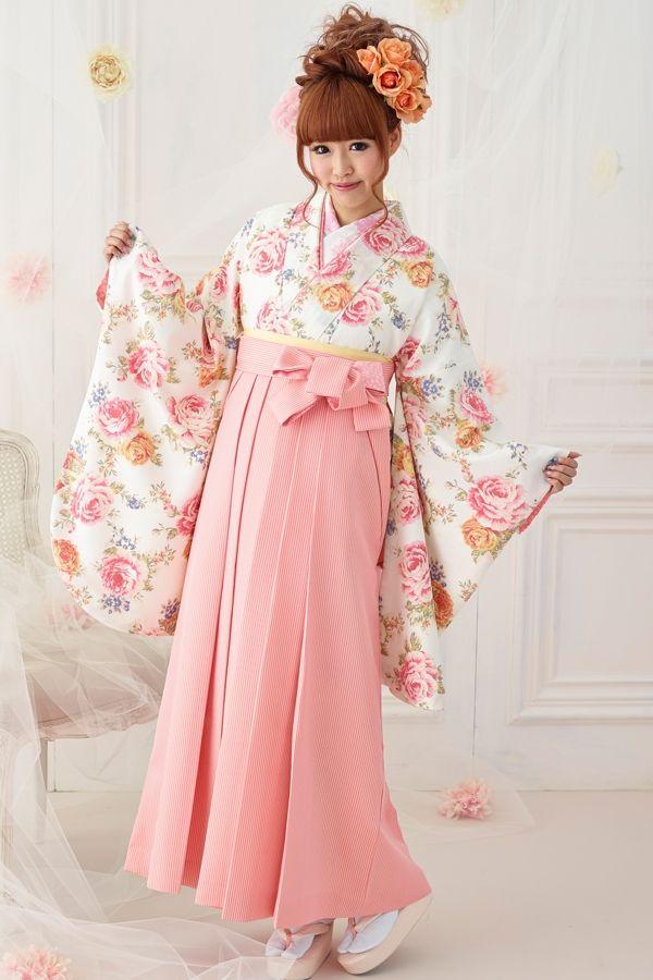 可愛い系袴 白/ピンク色