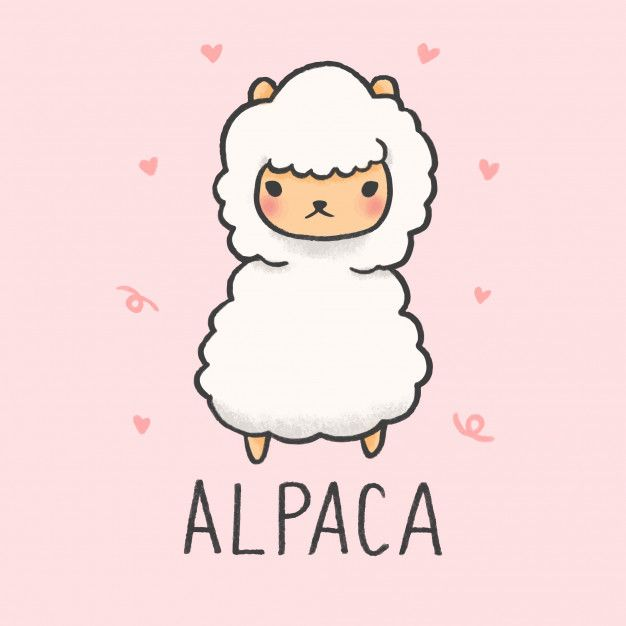 Cute Alpaca Cartoon Hand Drawn Style Cute Cartoon Drawings Cute
