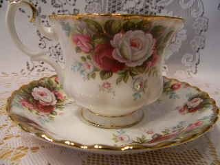 Royal Albert, Celebration Pattern, 1970 This is one of my favorite patterns, but please turn the tea cup's handle!